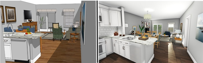 Prior 3D Rendering of Model Unit - New 3D Rendering of Model Unit