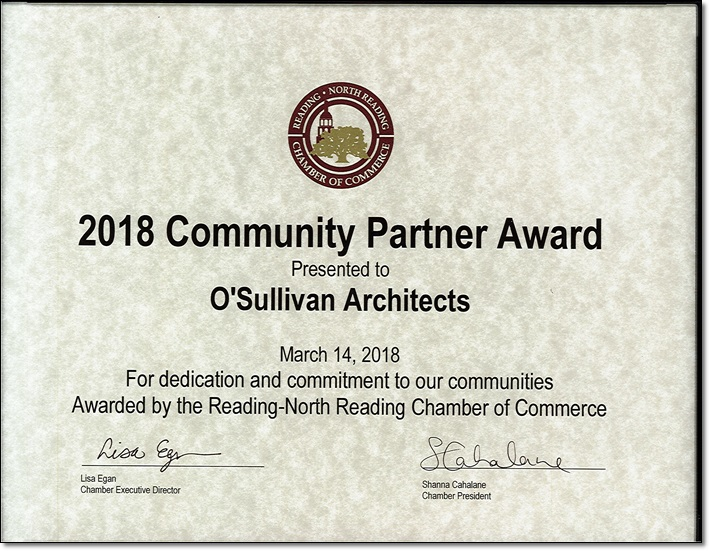 2018 Community Partner Award Awarded by the Reading-North Reading Chamber of Commerce