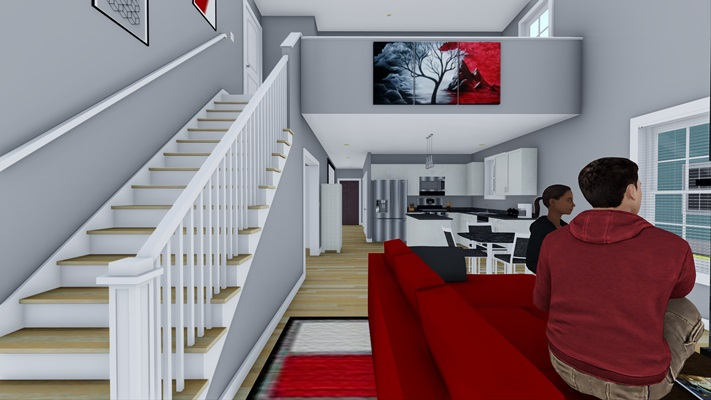 Acorn Place - Duplex Unit - Living Room with Loft Above